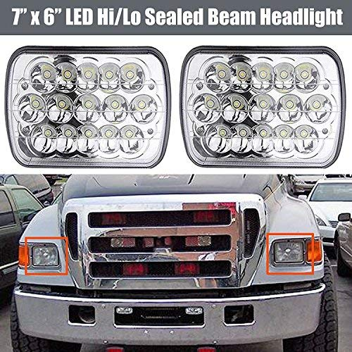Led Headlights 7x6 5x7 inch Front Light for Super Duty Trucks F600 F650 F700 F750 High Low Sealed Beam Square Rectangle Headlamp Replacement Kit H4 9003 Plug
