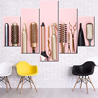Best Picture for Living Room/Barbershop Hairdresser Tools Painting Multi Panel Prints on Canvas Makeup Wall Art Hair Salon Artwork Modern Home Decor Wooden Framed Gallery-Wrapped Ready to Hang(60