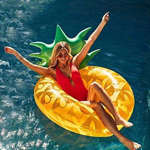 Ginkago Aufblasbar Ananas Luftmatratze Riesiger Schwimmring Pool - 120*80*60 Ananas Schwimmreifen Wasser Strand Party Spielzeug wasserspielzeug Sommerspielzeug Kinder Erwachsenen