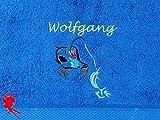 Angeln Handtuch bestickt mit Motiv und Name Angler