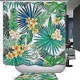 HarsonundJane Tropische Pflanzenblätter Tierdruck Polyester Duschvorhang 180x180cm Wasserdichter Schimmelfest mit Kunststoffhaken(Bananenblätter)