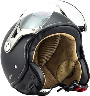 Soxon SP-325 Motorrad Jet-Helm , ECE Visier Schnellverschluss Tasche, S 55-56cm, Night