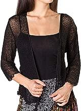 TOPUNDER Mesh Knit Cardigan Coat for Women Sheer Shrug Open Front 3/4 Sleeve Lightweight