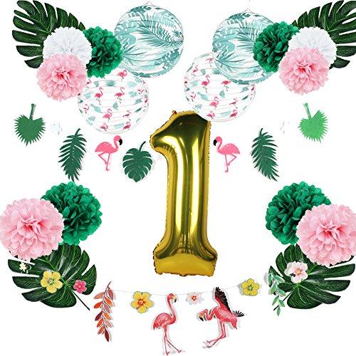 EASY JOY Decoration Anniversaire Fille 1 an Ballon Or Kit Flamingo Party Deco Lampion Suspendu Pompon Papier de Soie Rose Blanc Vert Fleur+ Feuille Artificielle Tropicale