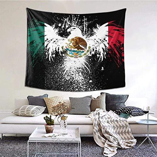 YJWLO - Tapiz de pared con bandera de México, ligero, duradero, para colgar en la pared, decoración del hogar, dormitorio, sala de estar, dormitorio, poliéster, Blanco, 90*60inch