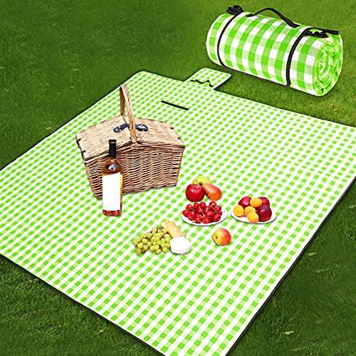Ruisita Extra große Picknickdecke, 200,7 x 200,7 cm, grün und weiß kariert, Picknickdecke, wasserdicht, Stranddecke, übergroß, tragbare Picknickdecke für Outdoor-Camping
