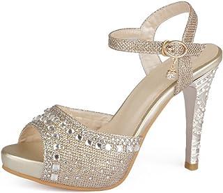 BalaMasa Girls Sequins High-Heels Soft Material Sandals f884f97b7e5c