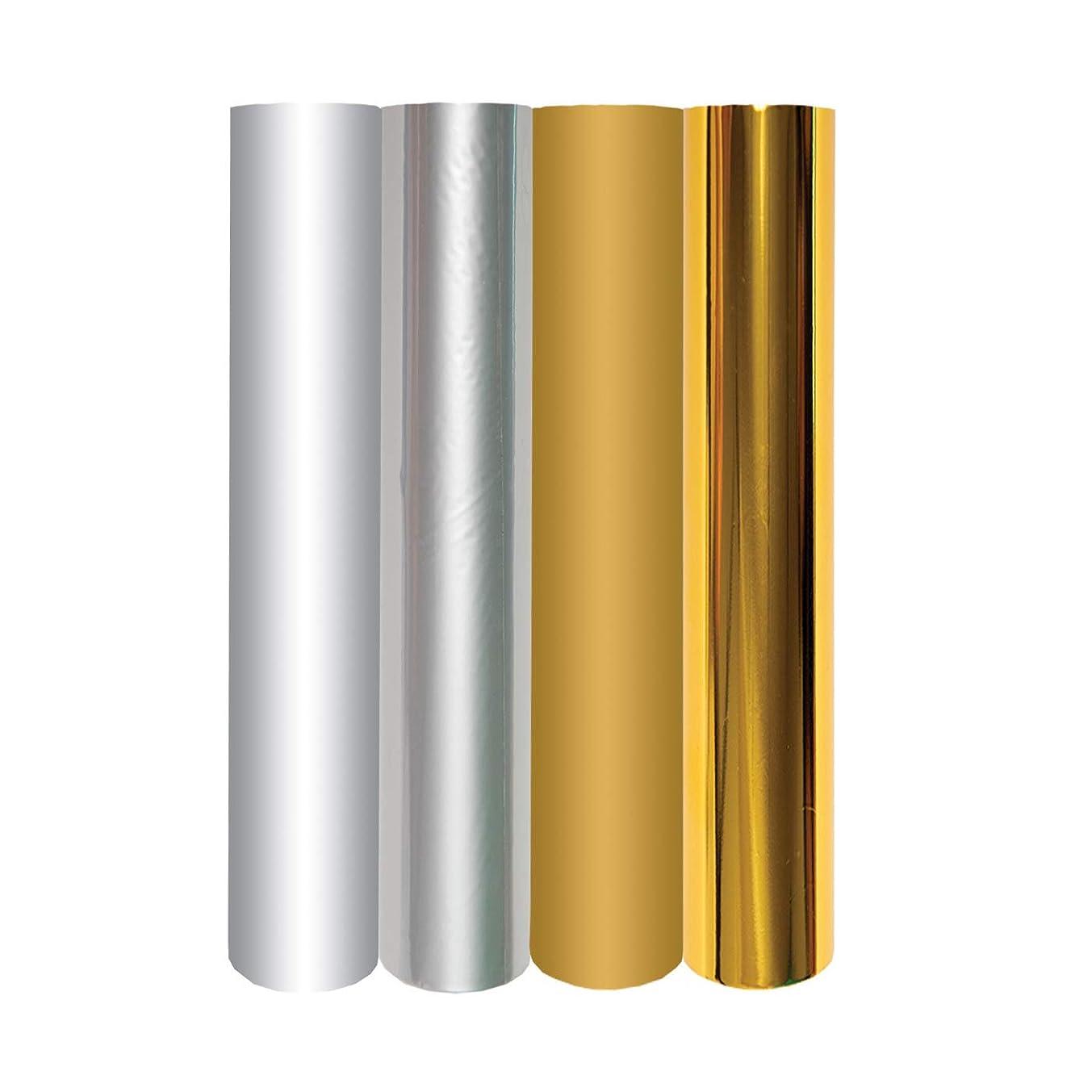 Spellbinders GLF-011 4 Metallic Gold & Silver Variety Pack Glimmer Hot Foil Roll, Multicolor