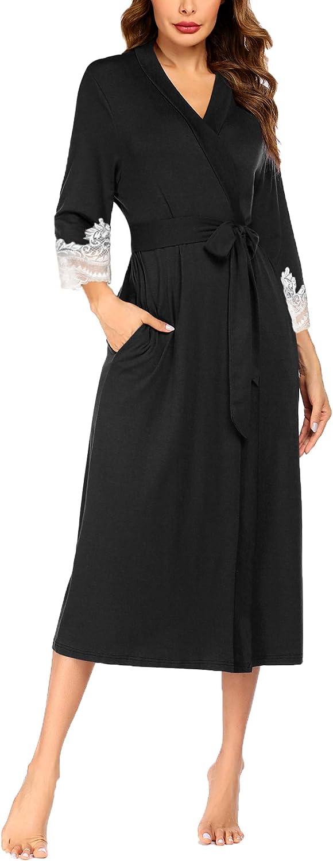 Ekouaer Women Kimono Robes Lightweight Robe Long Knit Bathrobe Soft Sleepwear Ladies Loungewear S-XXL