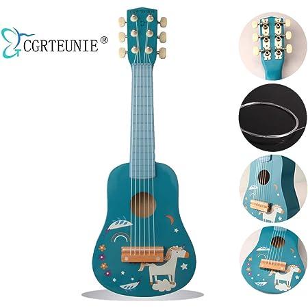 CGRTEUNIE Classique Acoustique 6 Cordes 21 Pouces Guitare En Bois Fait À La Main Ukulélé Rhyme Instrument De Musique De Jouet Éducatif pour Tout-Petits Enfants Débutant Pratique Du Doigt (Licorne)