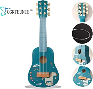 CGRTEUNIE Classical Acoustic 6 String 21 Inch Handmade Wooden Guitar Ukulele Rhyme Developmental Musical Instrument Educational Toy for Toddlers Children Beginner (Unicorn)