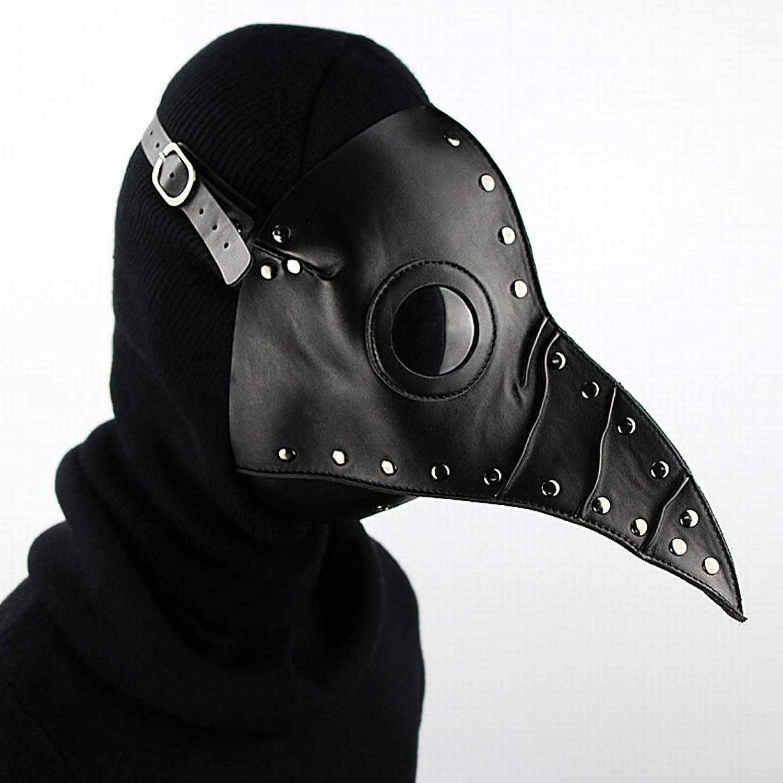 Xasclnis Plague Doctor Bird Mask Ssquadrapunk Retro Mask Htuttioween Cosplay Puntelli (Coloree   nero)