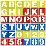 Draguimel 36 pièces Lettre Pochoirs, 10.2 cm Alphabets Pochoirs Numéro Pochoir Plastique Gabarits de Peinture DIY