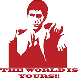 BellaCross Scarface The World is Yours Wall Decal is a Vinyl Wall Decal Displaying a Picture of Al Pacino in his Role as Scarface. - RED