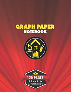 Graph Paper Notebook: Composition Notebook for Math and Science | 4x4 - 4 squares per inch ( 1/4 inch grid ) quad ruled | ...