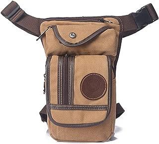 Men Canvas/Nylon Drop Leg Bag Waist Fanny Pack Belt Hip Durable Military Bags Travel Motorcycle Messenger Shoulder Bags,Khaki