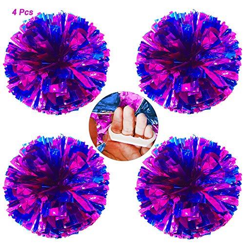 AUHOTA 4 Stücke Cheerleading Pom Poms mit Finger-freundlich Ring, Hell Metallic Cheerleader Pompons, Prämie Cheering Handblumen zum Sport Cheers Ball Dance Kostüm Party Spirit-80g/Pro (Rose/Blau)