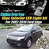 16Pc Canbus Error Free Super White 6000K Car Interior LED Light Kit Compatible for 2007-2010 Ford Edge Equipped w/Advanced Computer system