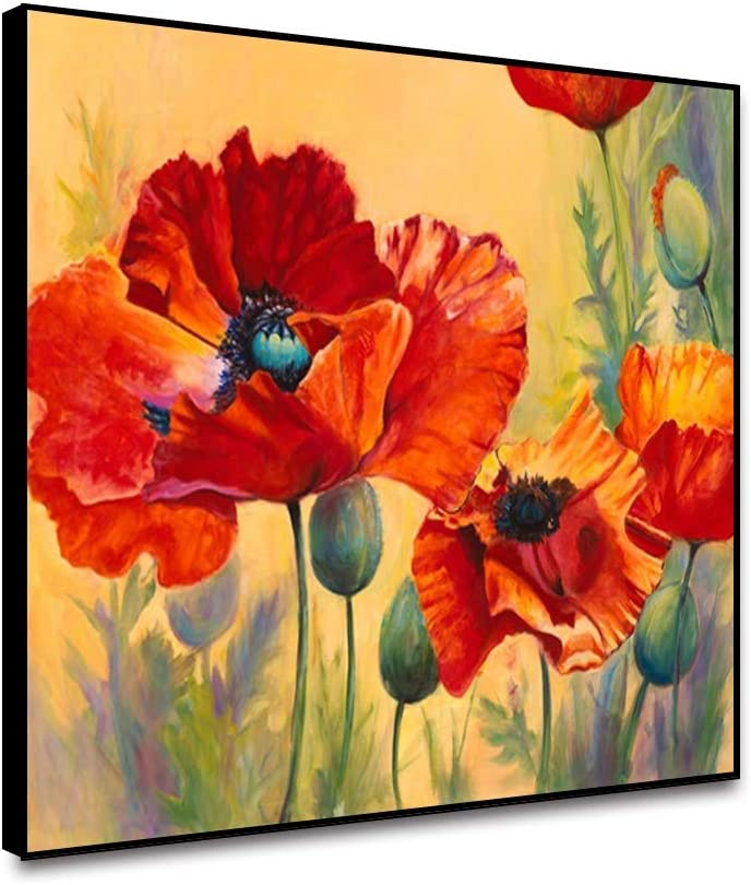 Yongto Showy shipfree Poppy Canvas Art Painting Genuine Flowers Framed Pictur Red