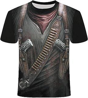 KPII T-Shirt Unisex Estampado 3D, Sudaderas de Sport Manga Corta, Casual Esqueleto Impresión Blusa Camisetas