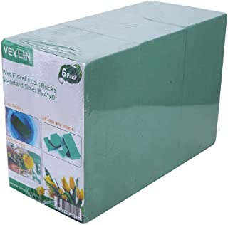 Pack of 6 Wet Floral Foam Bricks Green Styrofoam Blocks for Floral Arrangement by VEYLIN