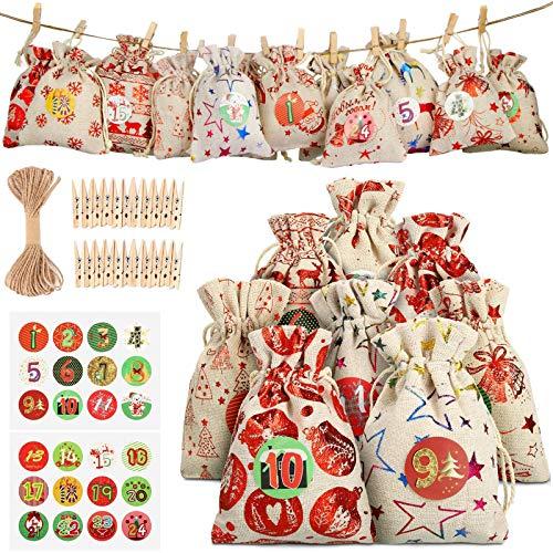 Calendario de Adviento, Set de 24 Bolsas de Yute para Rellenar, con Calendario de Adviento Casero, Bolsas Pequeñas Navidad, Bolsa de Regalo Navidad, Decoración Navideña para el Hogar