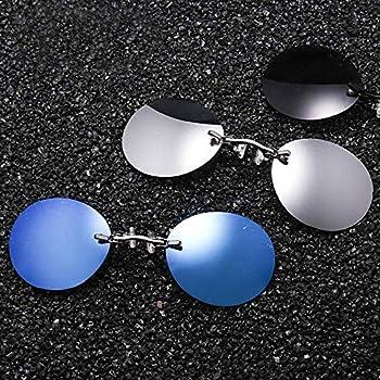 LZLAN Clip Nose Sunglasses Men Round Glasses Matrix Morpheus Vintage Sun Style  Black,One Size
