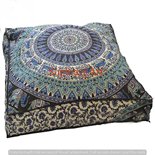 Indischer Psychedelischer Elefanten-Mandala-Bodenkissen, quadratischer Polsterhocker, Tagesbett, übergroßer Kissenbezug, für draußen, Sofa, Überwurf, große Bodenkissen, 8,9 cm (Multi 2)