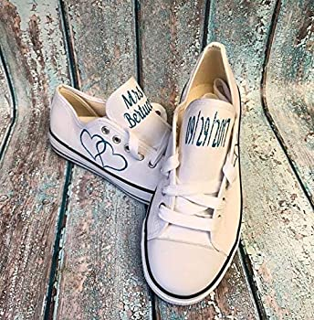 Personalized White Canvas Wedding Shoes Reception Sneakers Photography Props Bridal Shower Gift Custom Tennis Shoes for Bride Honeymoon