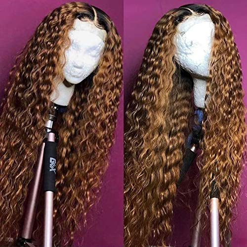 Ombre 予約販売 Blonde Curly 直営ストア Wig 13x4 Lace Hair Front Human Wigs Pre Pluck