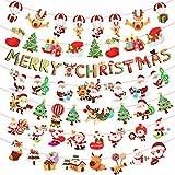 Matogle 7 Stück Weihnachten Girland Banner hängende Papiergirlande Merry Christmas Papier Santa Banner Weihnachtsmann Wimpelkette Schneemann Cartoon Deko für Weihnachten Neues Jahr Party DIY Deko