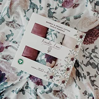 Baby Muslin Swaddle Blankets for Girls, 3 Pack, 47 x 47 inches - Soft, Organic receiving Swaddle wrap set for babies in Burgundy, Cream, Floral Designs - Premium Newborn Essentials muslin swaddles