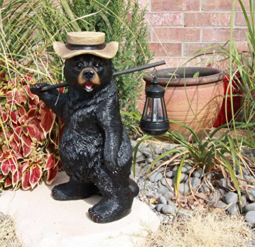 Ebros Whimsical Rustic Forest Outdoor Hiking Black Bear Statue with Solar LED Light Lantern Lamp...