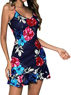NEARTIME Women Sexy Sundress, Summer Ruffles Skirts Floral Printing V-Neck Sleeveless Evening Party Bodycon Dress