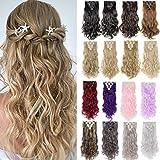 Haarteil wie Echthaar Clip in Extension Gewellt Hair Extension 8 Tressen 18 Clips für komplette Haarverlängerung 60cm 140 Gramm #Hellbraun & Blond