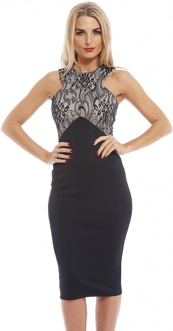 AX Paris Women's Lace Detailed Top Midi Dress