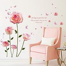 Huichang 1 stuk creatieve roze muursticker muursticker achtergrond muur sticker kinderkamer familie