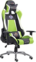 Racoor Video Gaming Chair, Black and Green - 66H x 70W x 125-133D cm