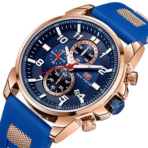 Mini Focus Reloj Deportivo Hombre, Reloj de Pulsera de Cuarzo Luminoso Impermeable para Hombres Relojes Deportivos de Negocios con Caja para Regalo de Esposo (Rose Blue)