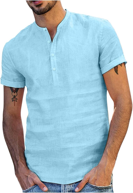Men's Summer T-Shirt Cotton Linen Hippie Shirts V-Neck Beach Yoga Tee Top Blouse