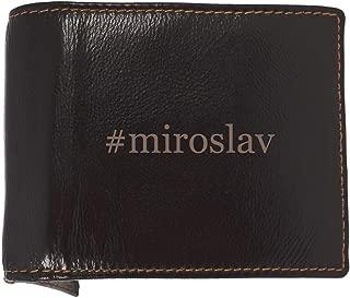 #miroslav - Soft Hashtag Cowhide Genuine Engraved Bifold Leather Wallet