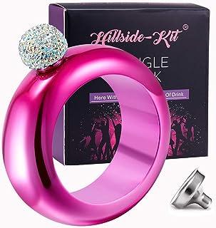 Hillside-Kit Bracelet Bangle Flask Handmade Crystal Lid Creative 304 Stainless Steel Wine Flask Gift For Women Girls Men P...