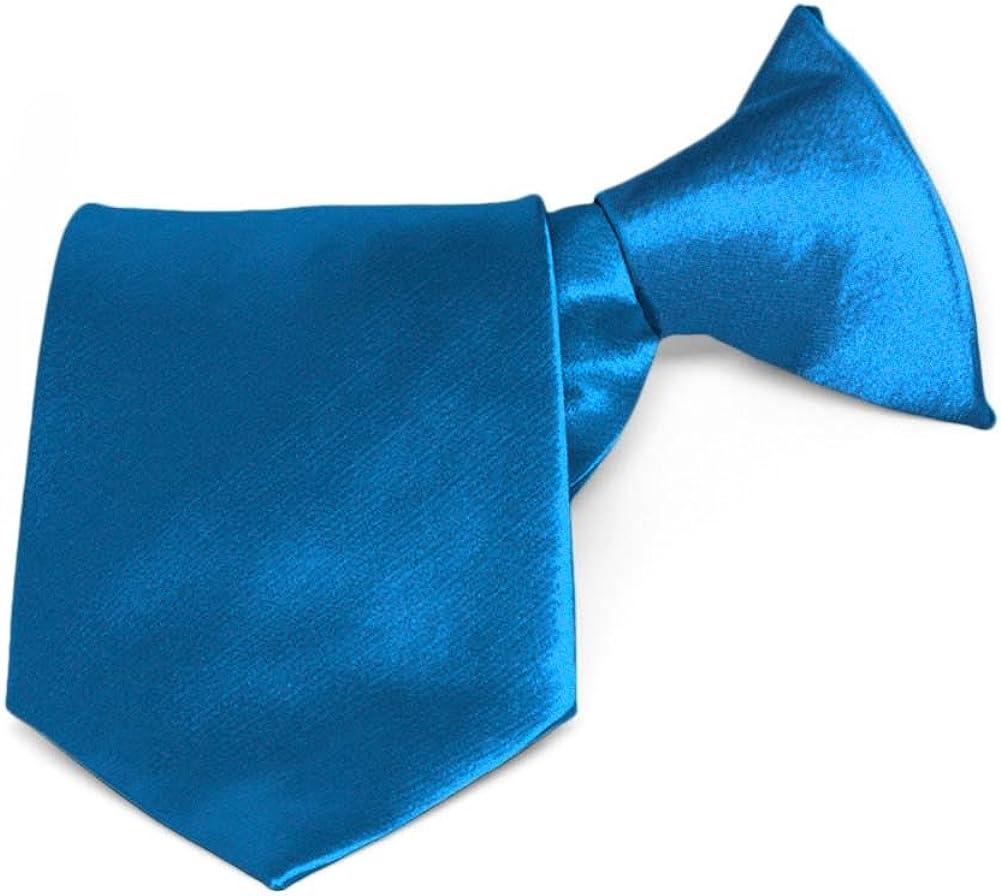 TieMart 25% OFF Boys' Azure Blue Solid Length Detroit Mall Color 14