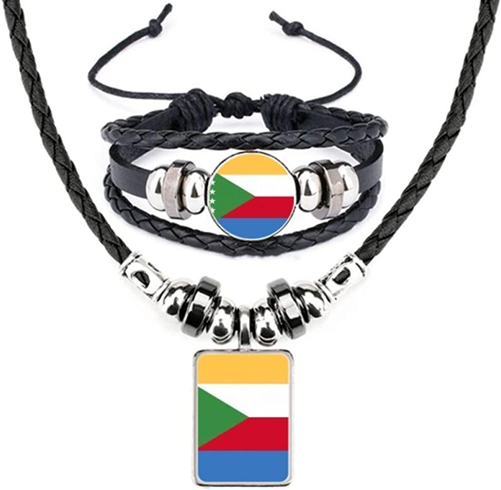 Comoros National Flag Africa Country Leather Necklace Bracelet Jewelry Set