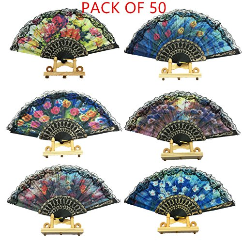 """woaiwo-q Spanish Floral Folding Hand Fan Flowers Pattern Lace Handheld Fans Size 9"""", Pack of 50 Random Color Suitable for Wedding Dancing Church Party Gifts"""