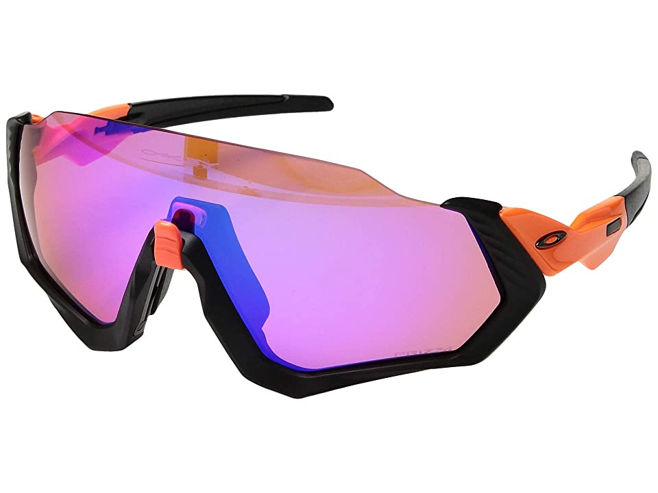 Oakley Flight Jacket (Neon Orange/Matte Black w/ Prizm Trail) Sport Sunglasses