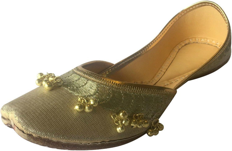 Step n Style Women's Cream Ghungroo Punjabi Jutti Jaipuri Khussa shoes Ethnic Mojari Flat Flip Flop