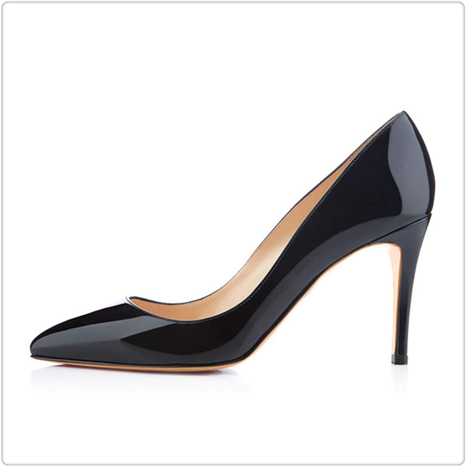 KKEPO& 3.5 Inches 8.5cm Thin High Heel Women's Pumps shoes Sexy Pointed Toe Wedding shoes Party Pumps Patent Leather shoes H170130 9