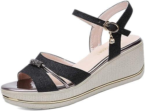 L-X Sandales Compensées pour Les Les Les Les dames avec Bride à la Cheville Confortable à Bout Ouvert Décoration D'été en Métal Chaussures à Plateforme Imperméable, Noir, 40 UE 732
