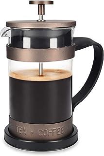 Navaris Cafetera Francesa de Acero Inoxidable de 600ML - Cafetera de émbolo para 5 Tazas, con Jarra de Vidrio y Filtro- Cafetera y Tetera marrón